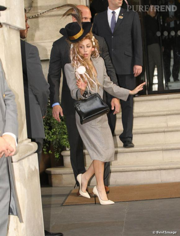 Lady Gaga sort d'un studio d'enregistrement a Londres, le 28 août 2013.