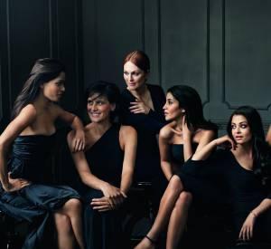 De gauche à droite : Freida Pinto, Inès de la Fressange, Julianne Moore, Leïla Bekhti, Aishwaria Rai, Liya Kebede, Eva Longoria et Doutzen Kroes.