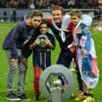 David Beckham et ses 3 fils : Romeo, Brooklyn et Cruz.