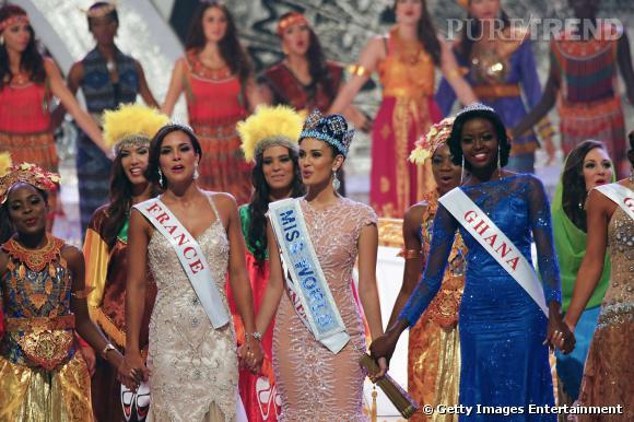 Marine Lorphelin (à gauche), Megan Young au milieu : le concours Miss Monde 2013.