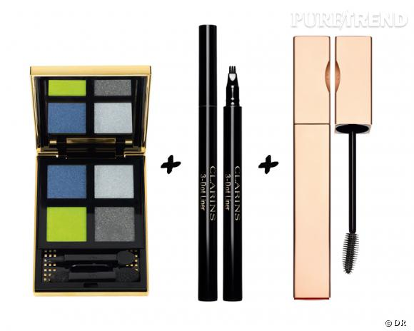 Le bon trio pour un regard tendance : palette City Drive Arty, Yves Saint Laurent, 53 € + 3 Dot-Liner, Clarins, 25 € + Be Long Mascara, Clarins, 25,50 €