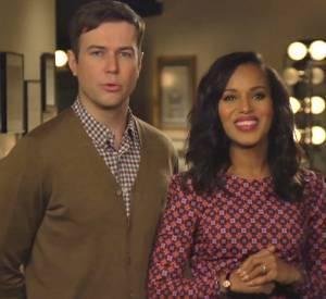 Kerry Washington et Taran Killam annoncent la venue de l'actrice à SNL, samedi 2 novembre.