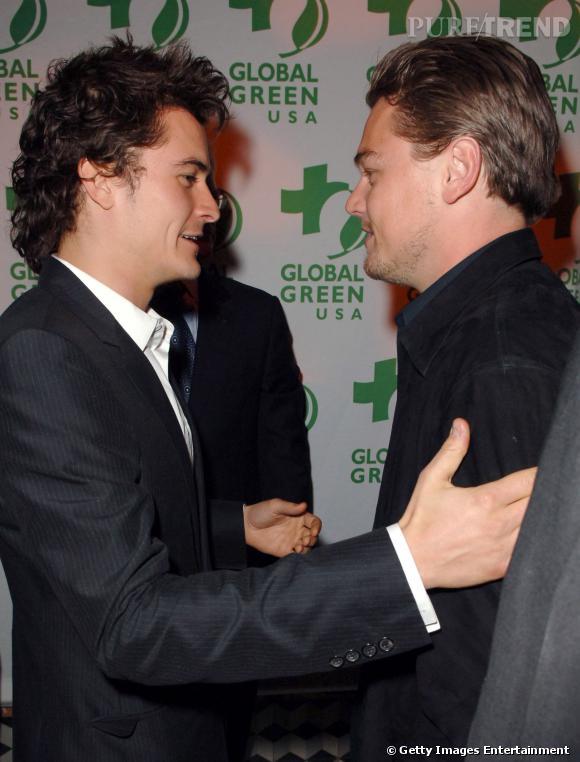 Ici, Orlando Bloom donne sa bénédiction à Leonardo Dicaprio. Du moins, on l'imagine.