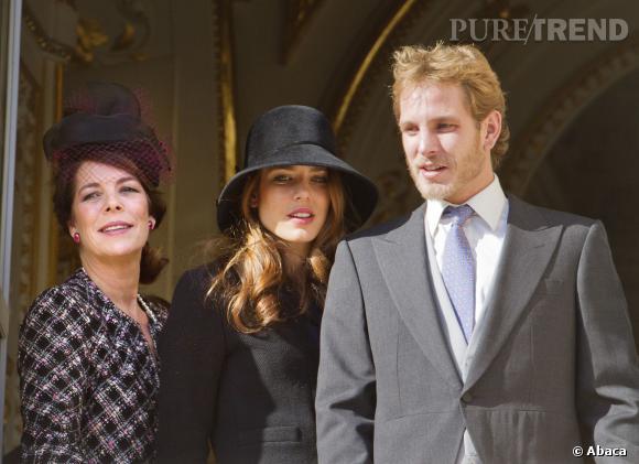 Caroline de Monaco avec deux de ses quatre enfants : Charlotte et Andrea Cashiraghi.