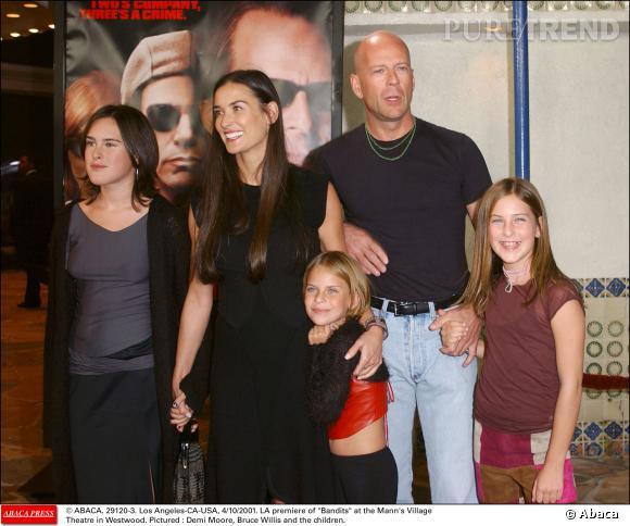 Bruce Willis et ses trois filles nées de son union avec Demi Moore.