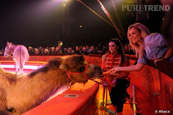 """Adriana Karembeu s'est fait de nouveaux amis au Cirque Pinder mercredi 11 décembre 2013 à l'occasion de l'opération """"Tous en fête"""" de la Croix-Rouge Française."""