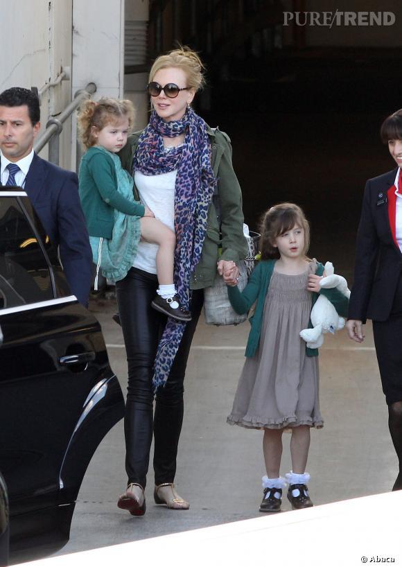 Nicole Kidman et ses deux filles, Sunday Rose (l'aînée) et Faith.