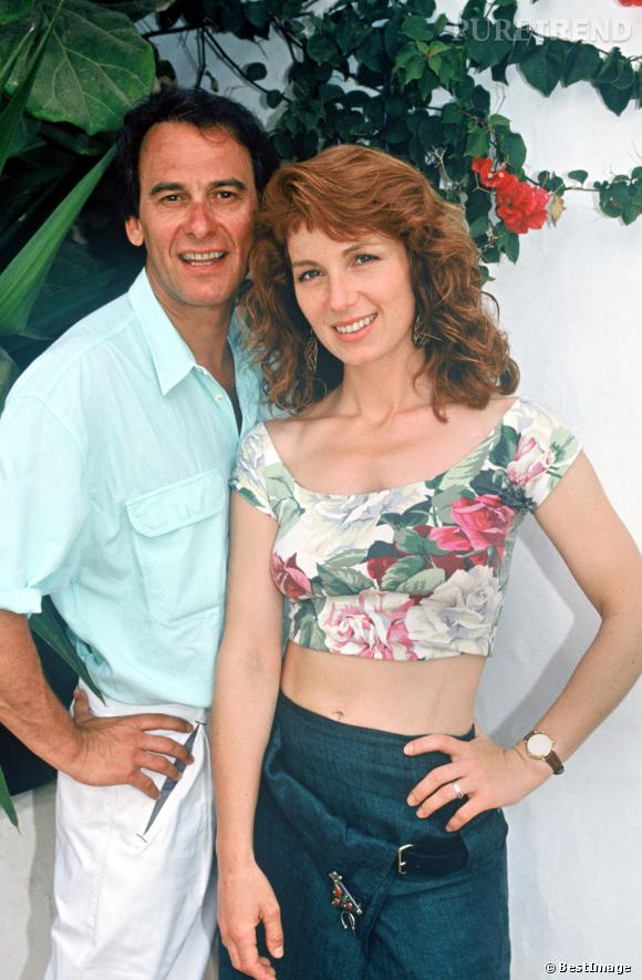 Véronique Genest avec Michel Fugain au tout début des années 90.