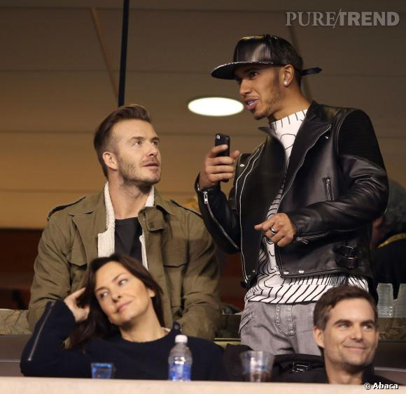 David Beckham et Lewis Hamilton, parmi les stars du Super Bowl 2014.