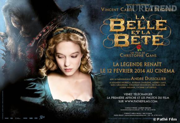 """L'affiche du film """"La Belle et la Bête"""" avec Vincent Cassel et Léa Seydoux, au cinéma le 12 février 2014."""