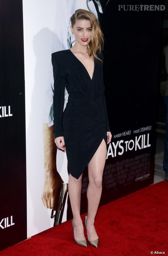 Amber Heard à tomber dans une robe Alexandre Vauthier décolletée et fendue.