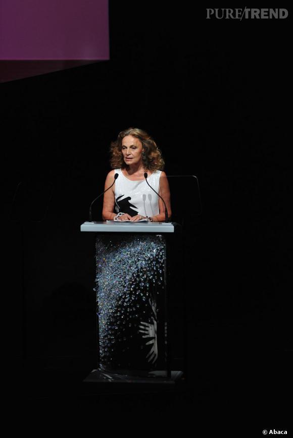 Diane Von Furstenberg, présidente du Council of Fashion Designers of America Awards (CFDA) lors de la cérémonie 2012.