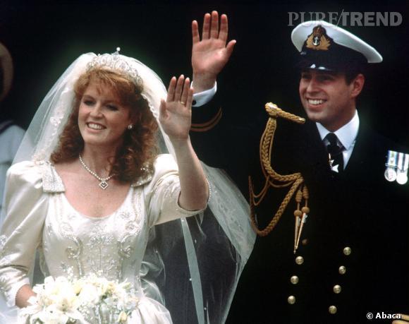 Sarah Ferguson et le Prince Andrew lors de leur mariage le 23 juillet 1983.
