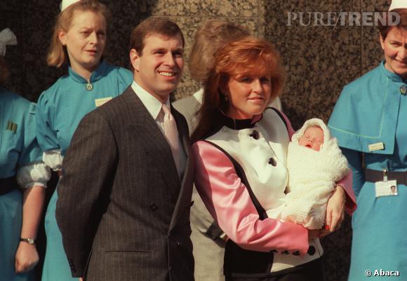 Le Prince Andrew et Sarah Ferguson en 1990 peu après la naissance de la Princesse Eugenie.