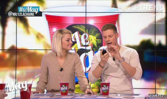 """Moment embarassant ce mercredi 26 mars 2014 sur le plateau de l'émission """"Le Mag"""" sur NRJ12 avec Matthieu Delormeau et Caroline Receveur."""