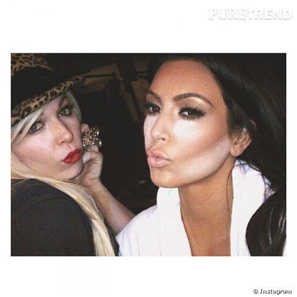 Kim Kardashian a posté une photo de la dernière étape de son maquillage : le contouring.