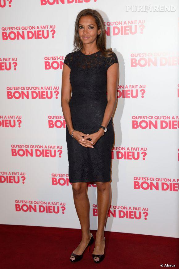 """Karine Le Marchand à la première de """"Qu'est-ce qu'on a fait au bon dieu ?"""" au Grand Rex à Paris le 10 avril 2014."""