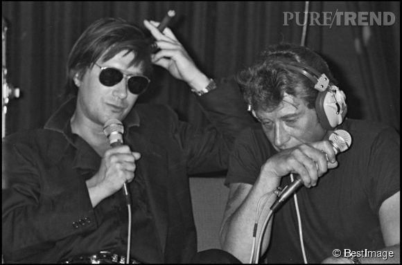 Johnny Hallyday et Jacques Dutronc en 1984.