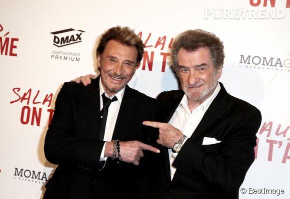 Johnny hallyday et Eddy Mitchell à l'avant-première de Salaud on t'aime, le 31 mars 2014.