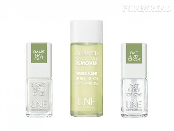 Les soins 2-en-1 de UNE sont idéal pour une manucure non agressive : Smart Nail Care (12,90 €), Dissolvant Huile Soin (9,90 €), Fast & Dry Top Coat (12,90 €)