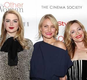 """Kate Upton aux côtés de Carmon Diaz et Leslie Mann lors de la projection de """"Triple Alliance"""" à New York le 24 avril 2014."""