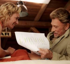 "Sandrine Bonnaire et Johnny Hallyday dans le film ""Salaud, on t'aime""."