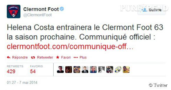 Clermont Foot officialise la nouvelle également sur Twitter.