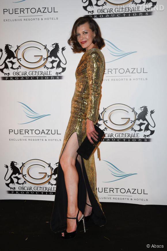 Milla Jovovitch à la soirée Puerto Azul à Cannes le 21 mai 2014.