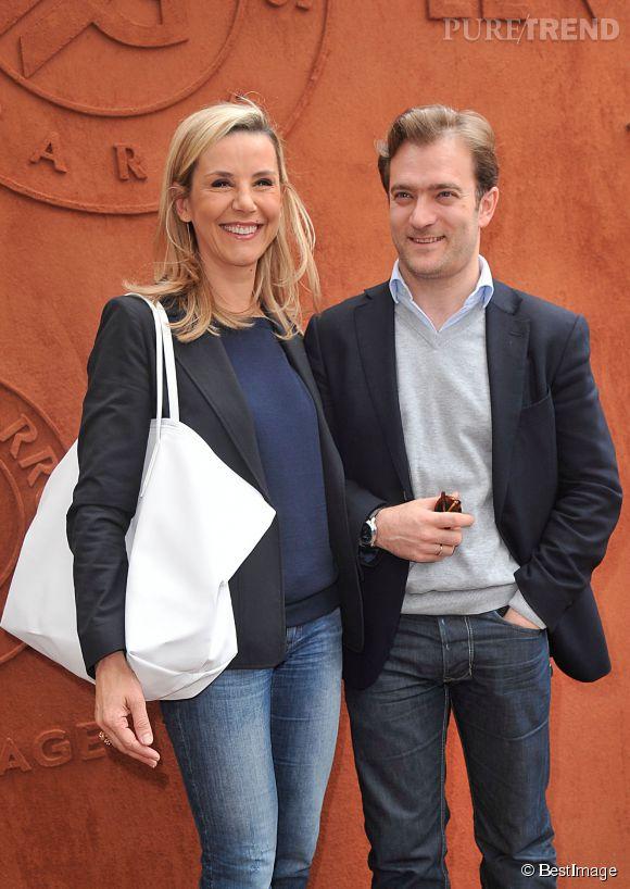 Laurence Ferrari et Renaud Capuçon, son mari, ensemble à Roland Garros 2014.