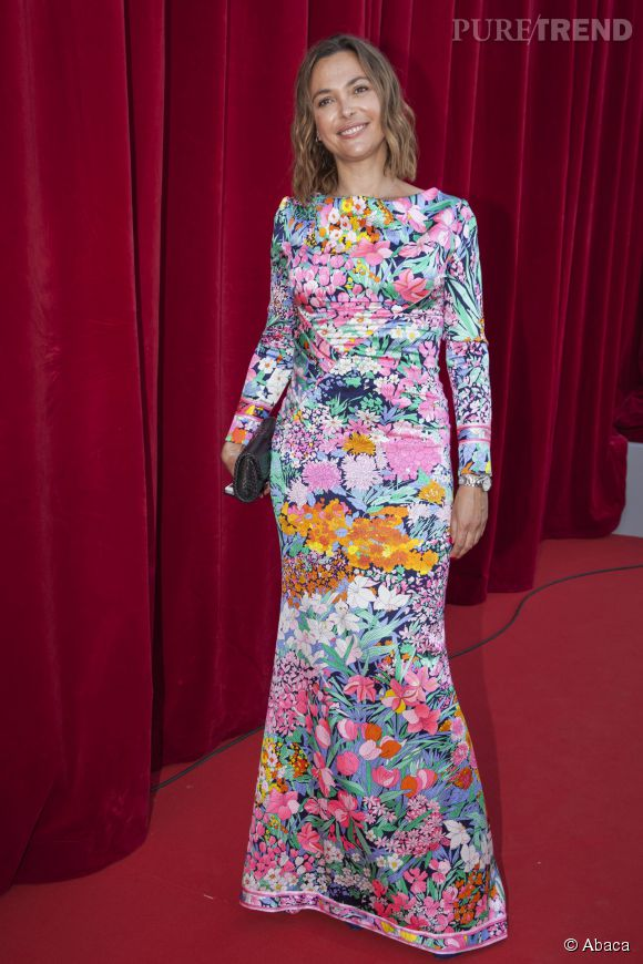 Sandrine Quétier, robe audacieuse et colorée au Festival de Monte-Carlo, le 8 juin 2014.