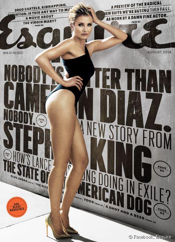 Cameron Diaz en couverture d'Esquire pour le mois d'août 2014.