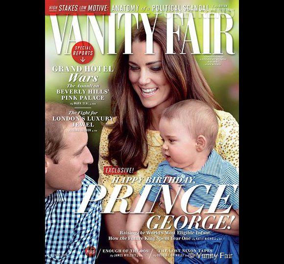 Kate Middleton, le Prince William et le Prince George en couverture de l'édition américaine du Vanity Fair pour le mois d'août 2014.