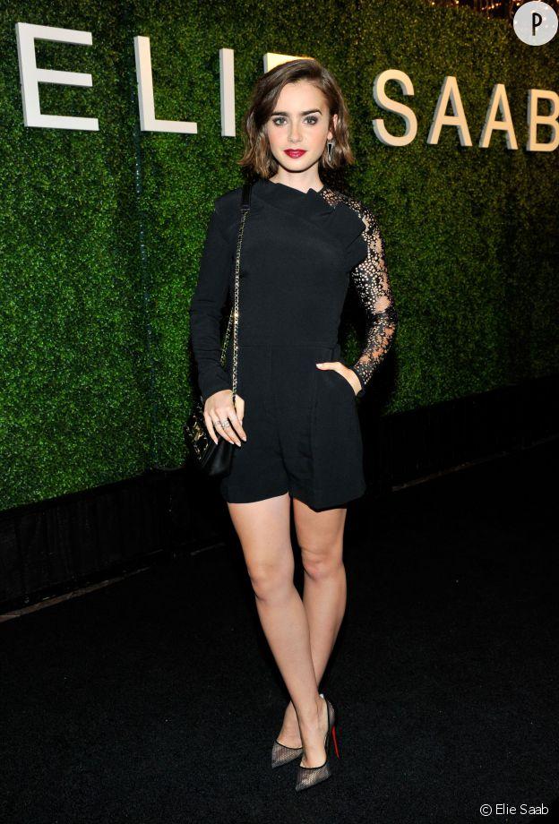 Lily Collins à la soirée Elie Saab de ce jeudi 13 novembre 2014.