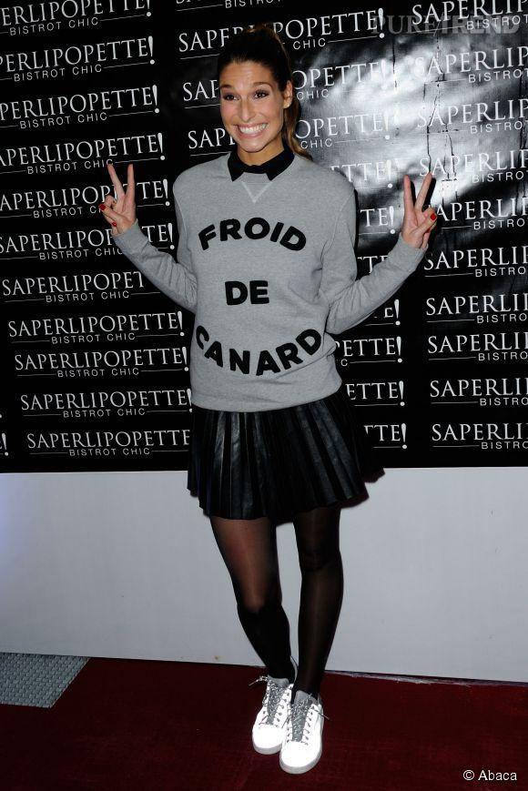 Laury Thilleman à l'ouverture du restaurant Saperlipopette de Norbert Tarayre à Puteaux le 17 novembre 2014.