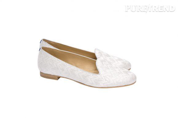 Slippers en lurex blanc Chatelles et Princesse tam.tam, 200 euros.
