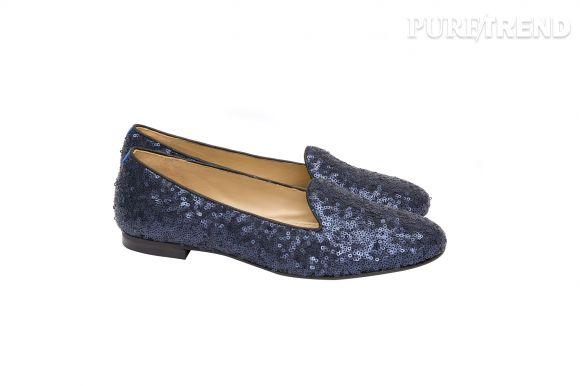 Slippers bleues à paillettes Chatelles et Princesse tam.tam, 200 euros.