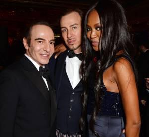 John Galliano, Alexis Roche et Naomi Campbell à la soirée qui a suivi les British Fashion Awards 2014.