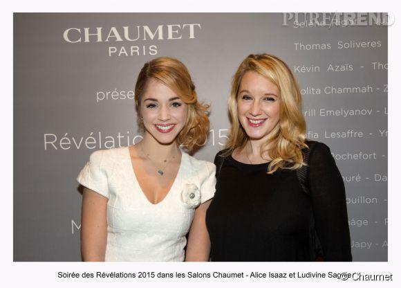 """Alice Isaaz et Ludivine Sagnier à la soirée des """"Révélations 2015"""" des César en partenariat avec Chaumet."""