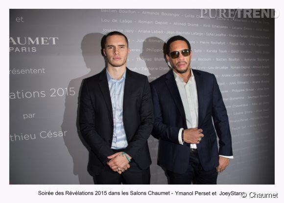 """Ymanol Perset et Joey Starr à la soirée des """"Révélations 2015"""" des César en partenariat avec Chaumet."""