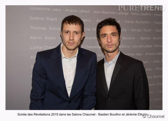 """Bastien Bouillon et Jérémie Elkaïm à la soirée des """"Révélations 2015"""" des César en partenariat avec Chaumet."""