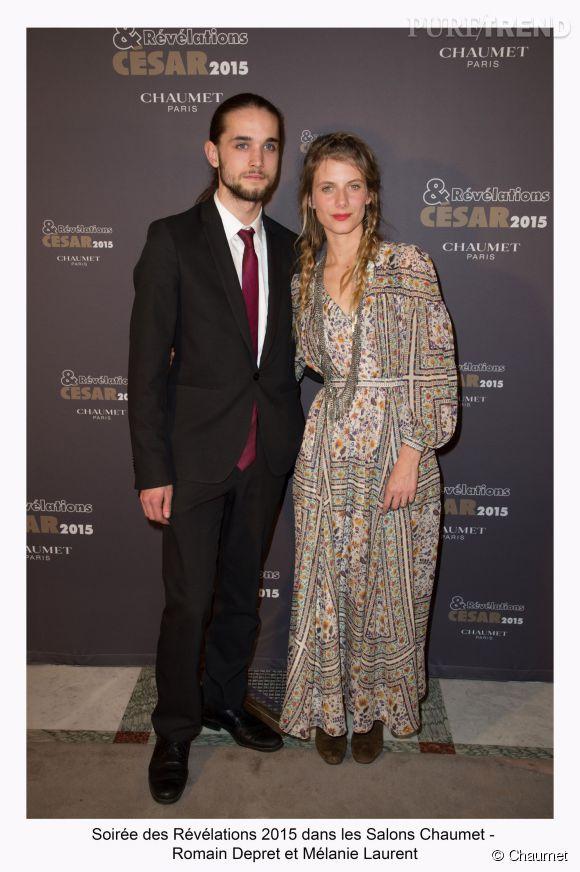 """Romain Depret et Mélanie Laurent à la soirée des """"Révélations 2015"""" des César en partenariat avec Chaumet."""
