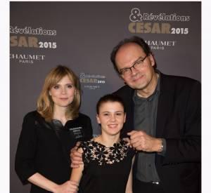 """Isabelle Carré, Ariana Rivoire et Jean Pierre Ameris à la soirée des """"Révélations 2015"""" des César en partenariat avec Chaumet."""