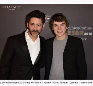 """Manu Payet et Zacharie Chasseriaud à la soirée des """"Révélations 2015"""" des César en partenariat avec Chaumet."""
