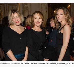 """Valéria Bruni-Tedeschi, Nathalie Baye et Laura Smet à la soirée des """"Révélations 2015"""" des César en partenariat avec Chaumet."""