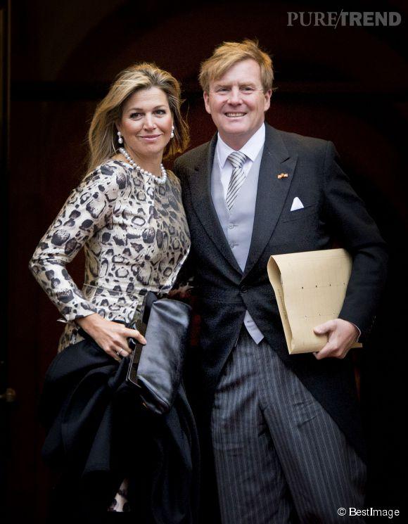 Maxima des Pays-Bas, heureuse et fière au bras du roi Willem-Alexander pour présenter leurs voeux.