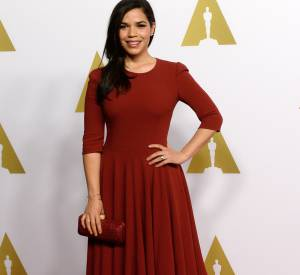 America Ferrera en Pamella Roland lors du déjeuner des nominés aux Oscars le 2 février 2015 à Beverly Hills.