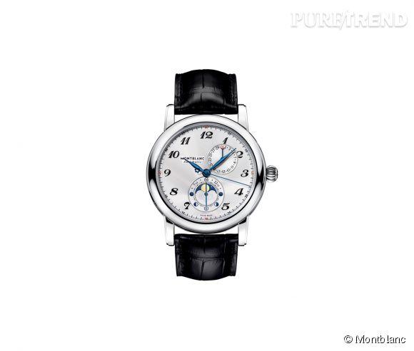 Montre Star Twin Moonphase de Montblanc Mouvement automatique, boîtier en acier et bracelet en cuir d'alligator, 4 200€.