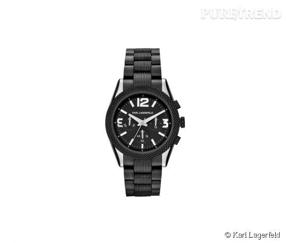 Montre Kurator de Karl Lagerfeld    Mouvement à quartz, boîtier et bracelet en acier mat, 299€.