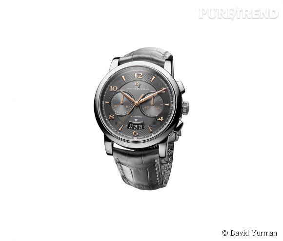 Montre Classic 43.5mm Chronograph de David Yurman    Mouvement automatique, boîtier en acier et bracelet en alligator, prix sur demande.
