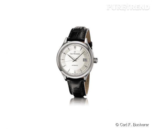 Montre Manero Auto Date de Carl F. Bucherer    Mouvement automatique, boîtier en acier et bracelet en alligator, prix sur demande.